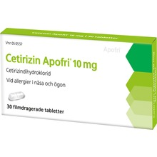 Cetirizin Apofri - Filmdragerad tablett 10 mg Cetirizin 30 tablett(er)
