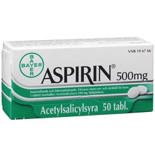 Aspirin - Tablett 500 mg Acetylsalicylsyra 50 styck