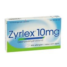 Zyrlex - Filmdragerad tablett 10 mg Cetirizin 14 styck