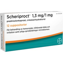 Scheriproct - Suppositorium 1,3 mg/1 mg 12 suppositorium/suppositorier