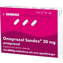 - Enterokapsel, hård 20 mg Omeprazol 14 kapsel/kapslar
